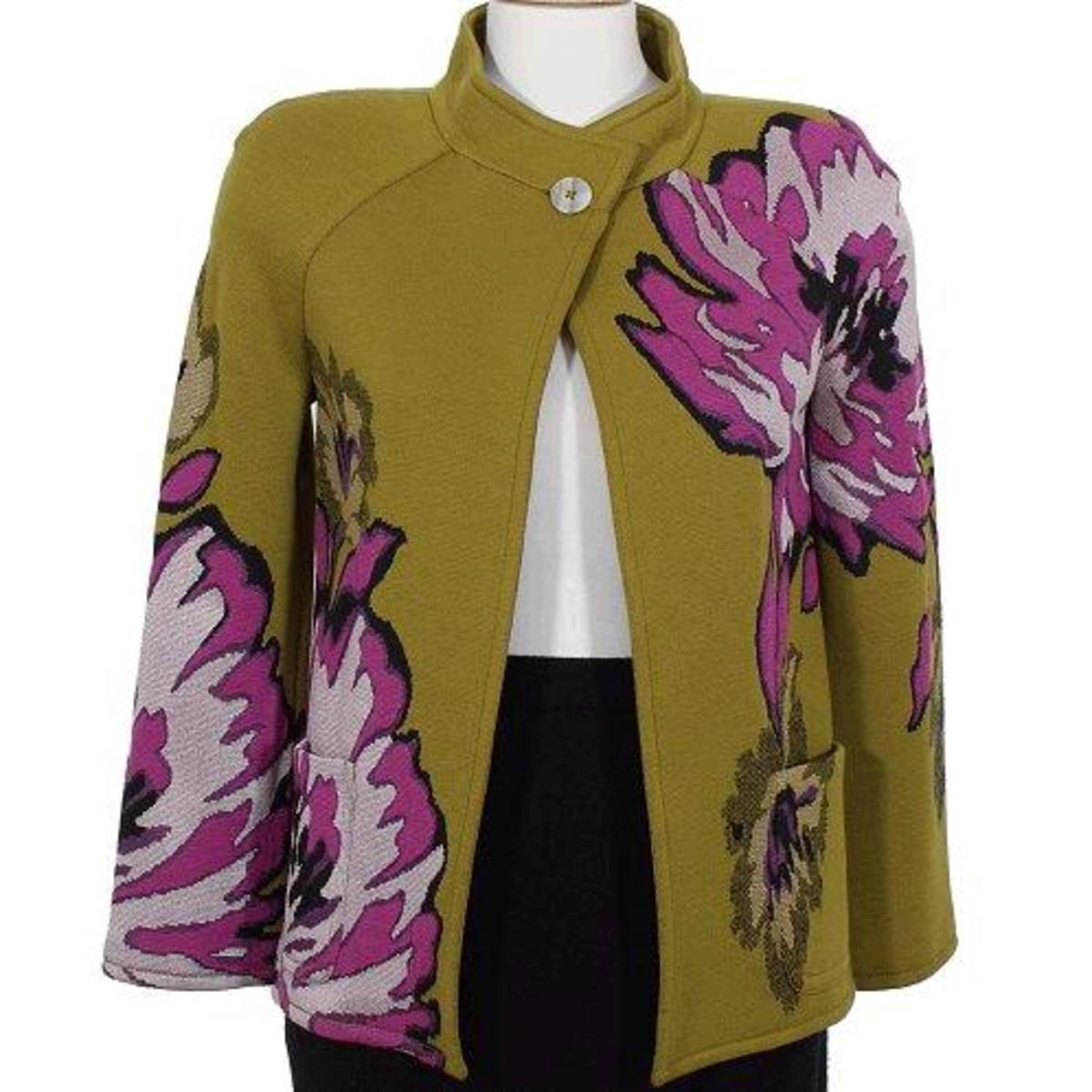 St John colorful jacket / cardigan in green and pink large overscale floral