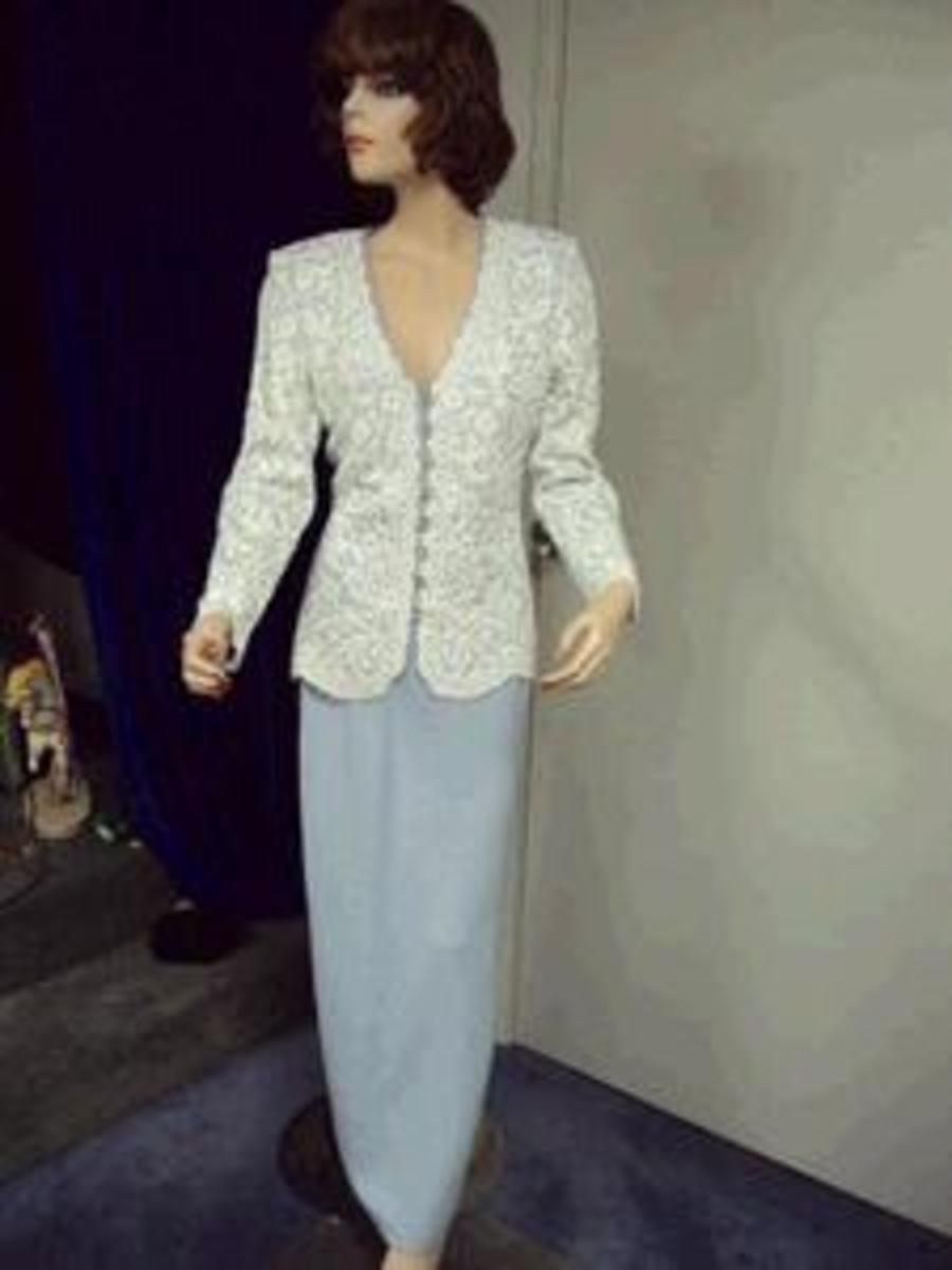 St John evening suit - white/blue jacket with blue skirt