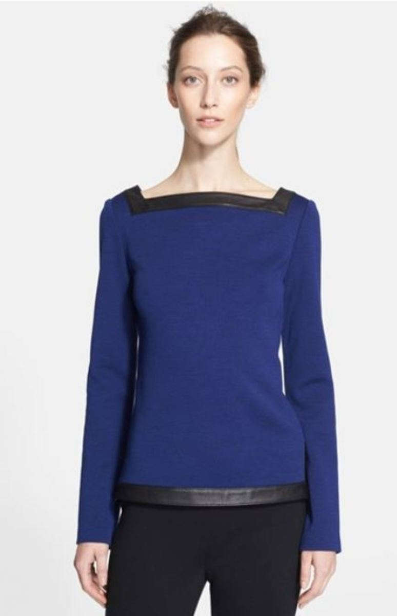 St John Milano Top with Leather Trim