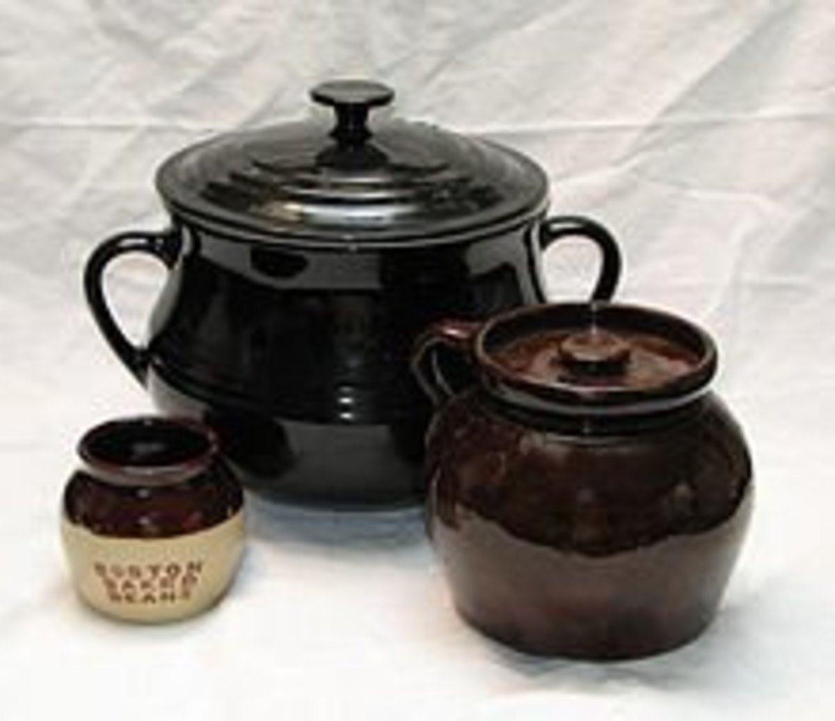 Baked beans are commonly prepared in a bean pot.