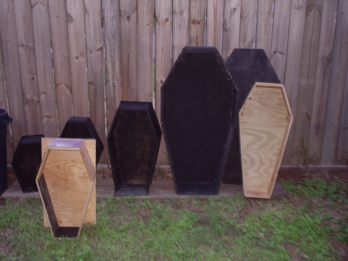 My sister made coffins in various sizes for Halloween ard displays.  Family photo, Vernatopia.com.