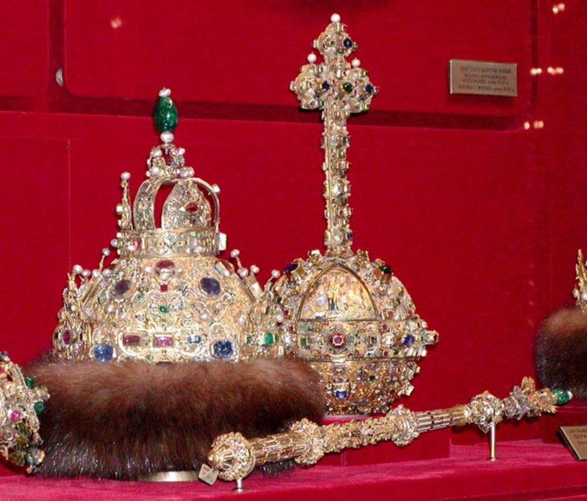 Russian Tsarist regalia at the Kremlin in Moscow