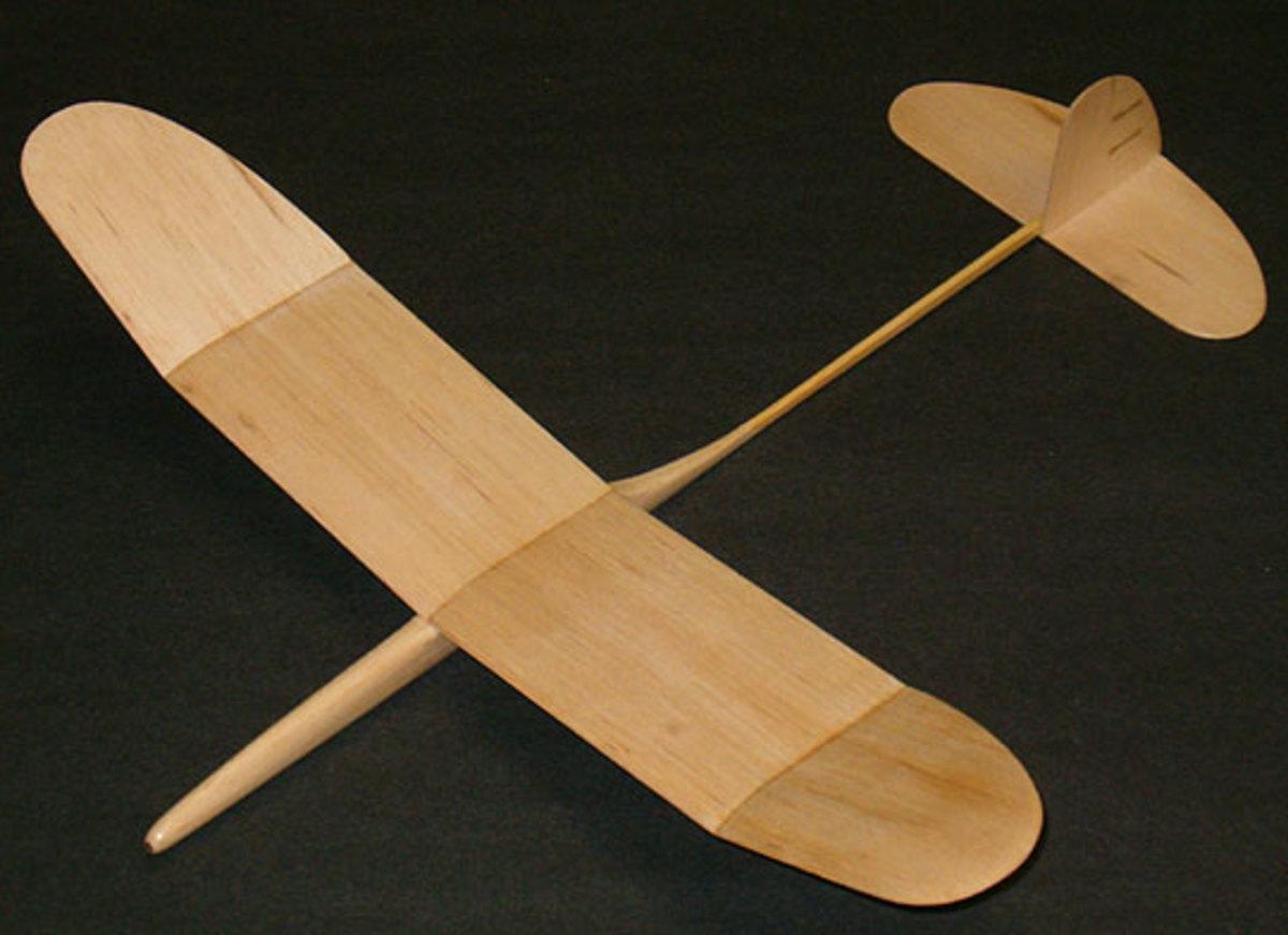 A balsa wood glider plane