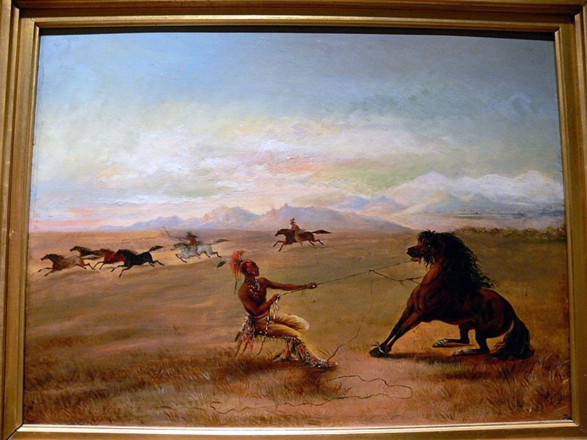 Gilcrease Art: Painting Catching the wild horse by George Catlin