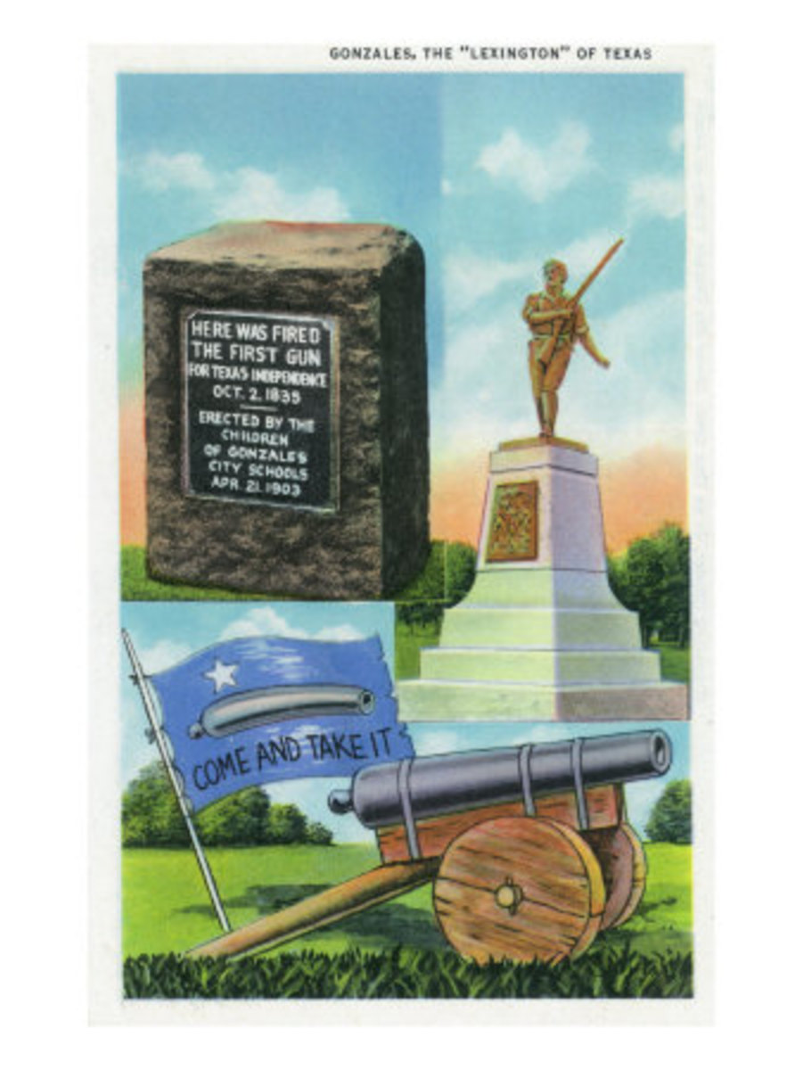 "Gonzales, Tx - ""Lexington"" of Texas Scene, View of Memorial, Cannon, Come and Take it, c.1942"