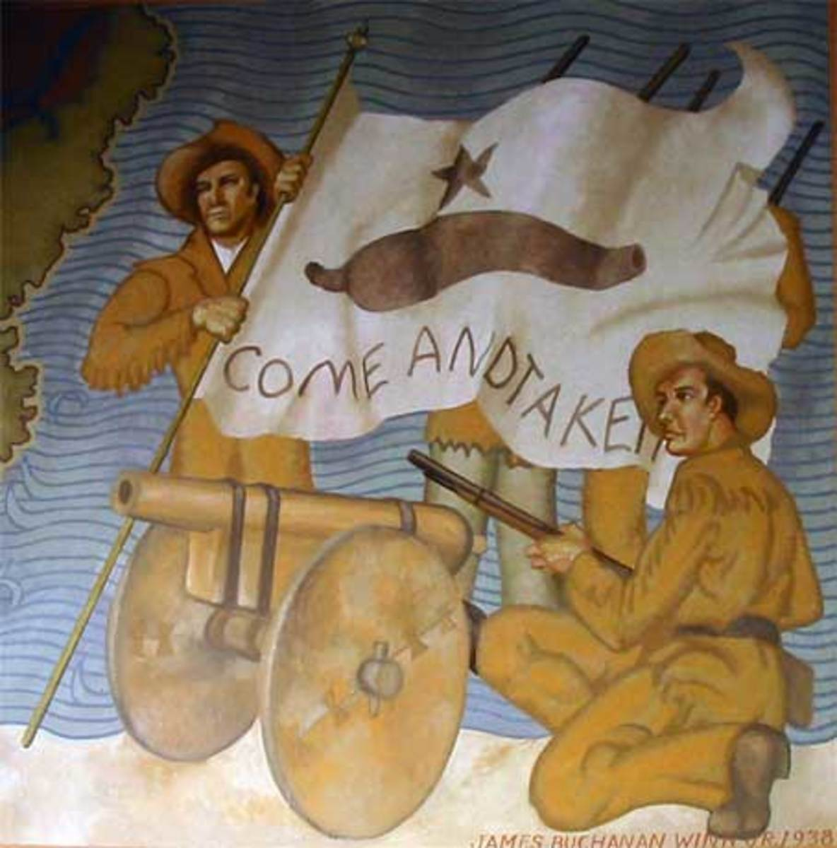 """The """"Come and Take It"""" mural at the Gonzales Museum, with the historic """"Come and Take It"""" Texas flag"""