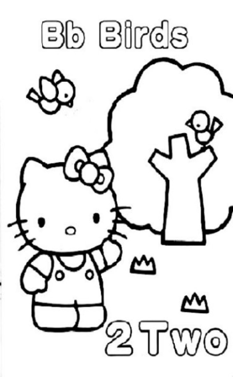 Little Kitty Kids  Coloring Pages with Free Colouring Pictures to Print