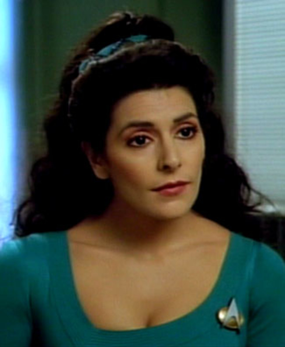 Deanna Troi starred in the next generation series as the ships councilor. She is a Betazoid, who has psychic attributes