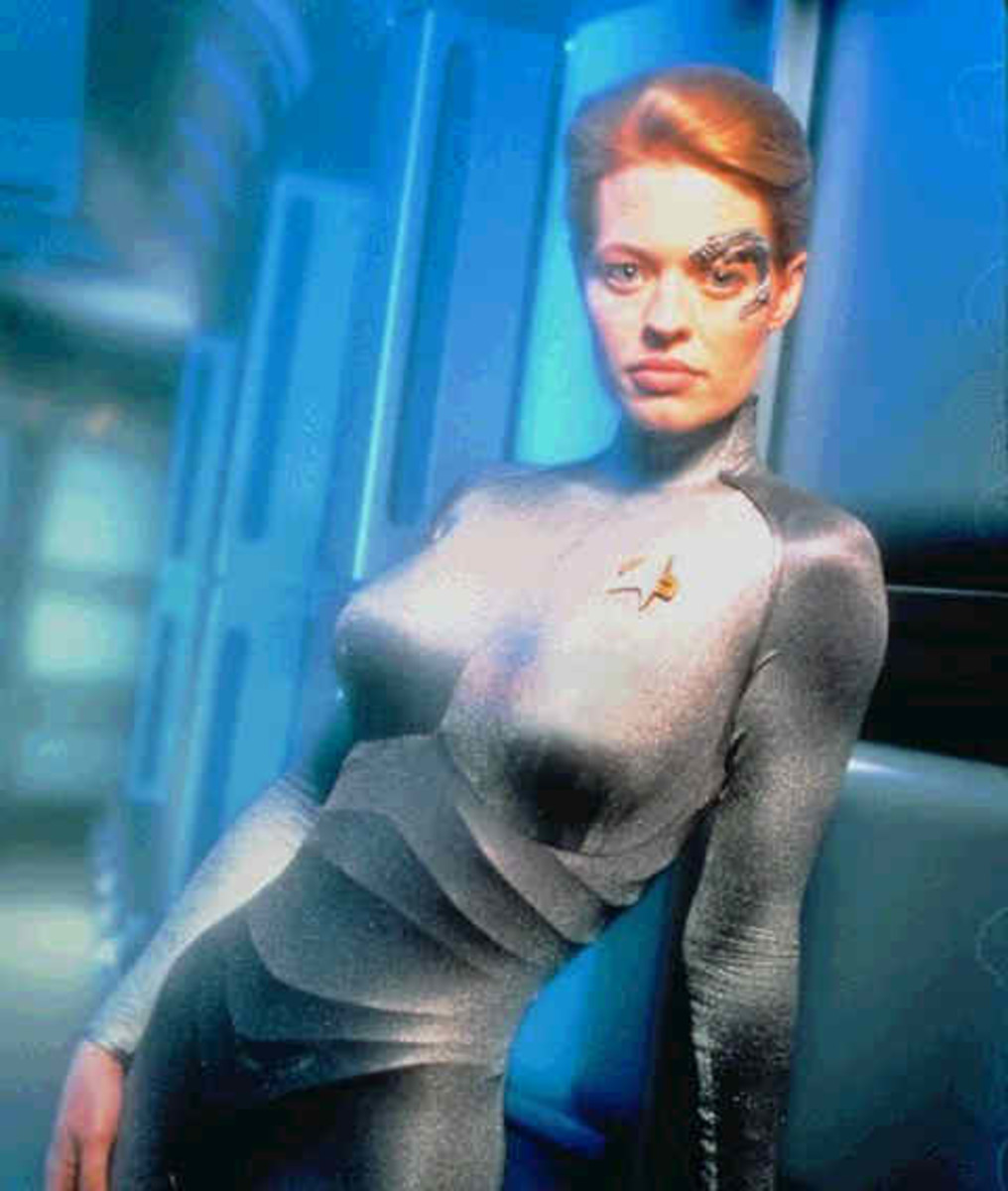Seven of Nine is a rescued borg female, who stars in the voyager series