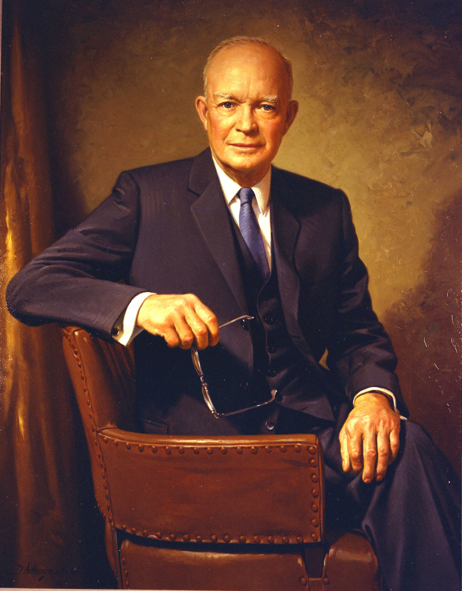 Dwight David ''Ike'' Eisenhower, a five-star general in the United States Army and the 34th President of the United States, Supreme Commander of the Allied forces in Europe, with responsibility for the invasion of France and Germany in 194445, the fi