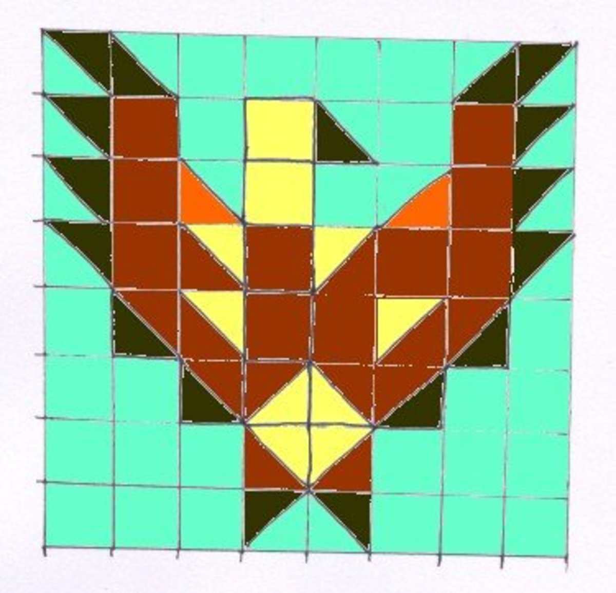 Patchwork eagle pattern based on a traditional Native American symbol.