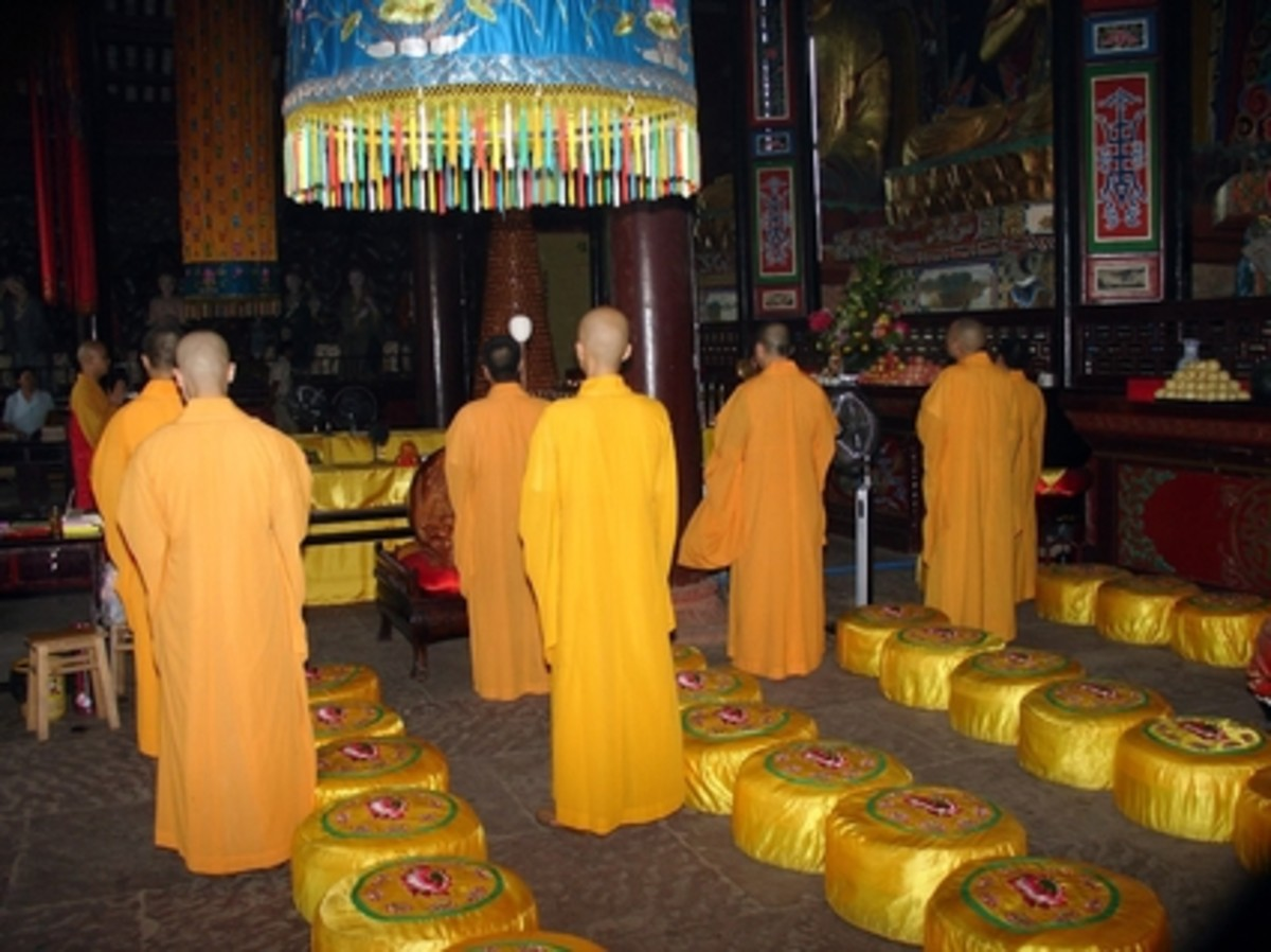 Chinese Monks in Yellow Robes
