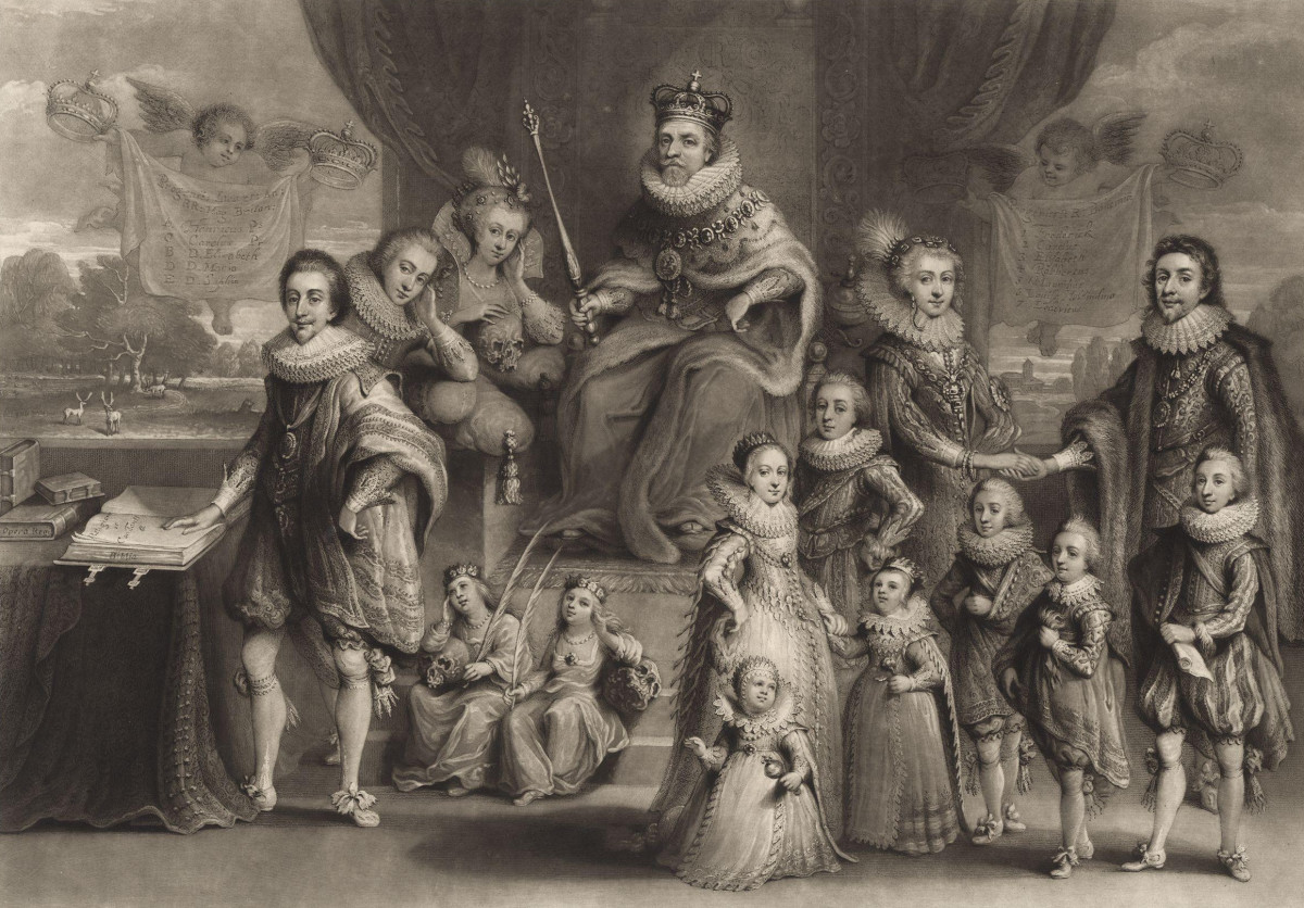 KING JAMES VI OF SCOTLAND BECAME KING JAMES I OF ENGLAND SHOWN HERE WITH HIS FAMILY
