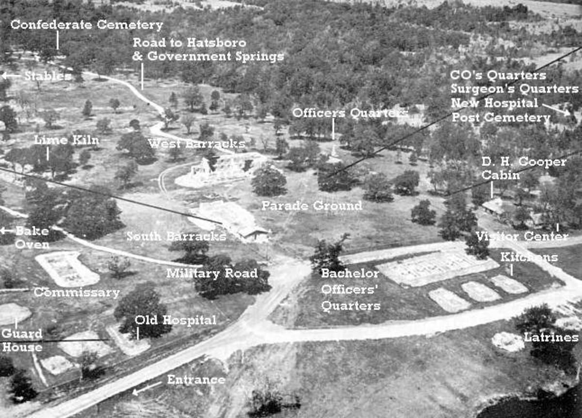 Oklahoma Civil War: Aerial View of Ft. Washita. Oklahoma Historical Society, 1975