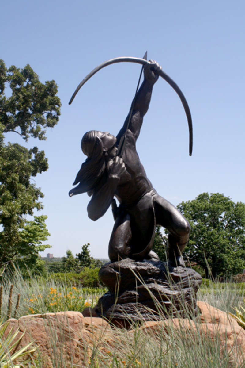 "Museums in Tulsa: ""Sacred Rain Arrow,"" a 1998 bronze sculpture by Allan Houser (Chiricahua Apache), at the Gilcrease Museum in Tulsa, Oklahoma"