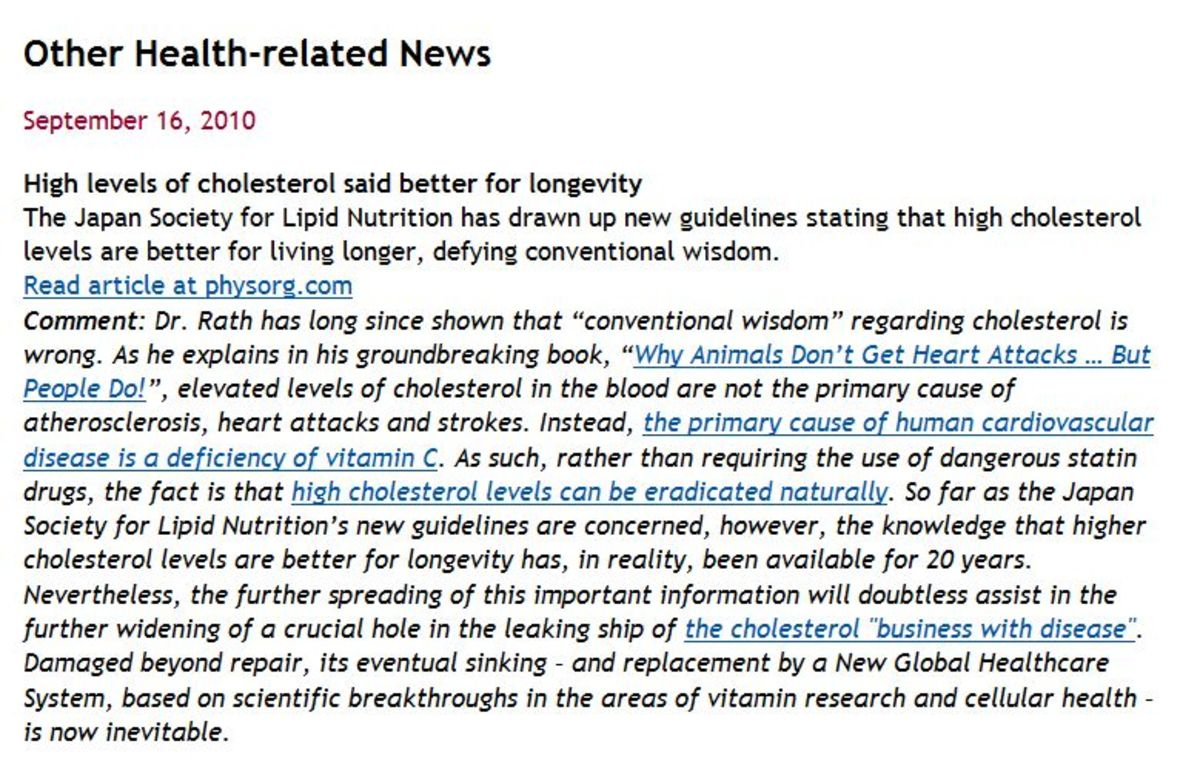 "Many months after I first wrote this hubpage ""science"" is waking up about the cholesterol myth!"