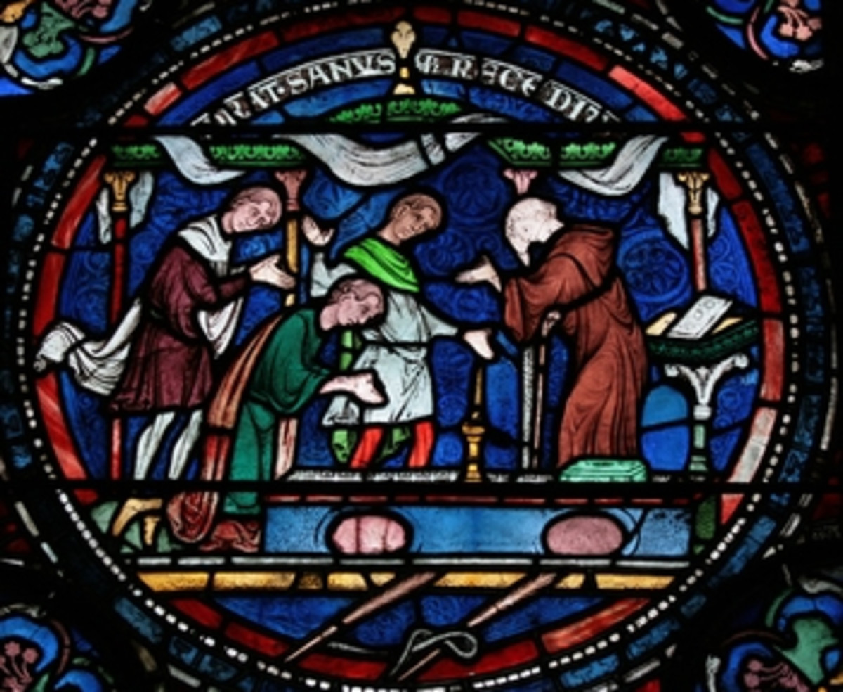 Thomas Beckett, an Archbishop of Canterbury created numerous, gorgeous stained glass windows in the cathedral. He is venerated as a saint and martyr.  He was assassinated by followers of the King of England.