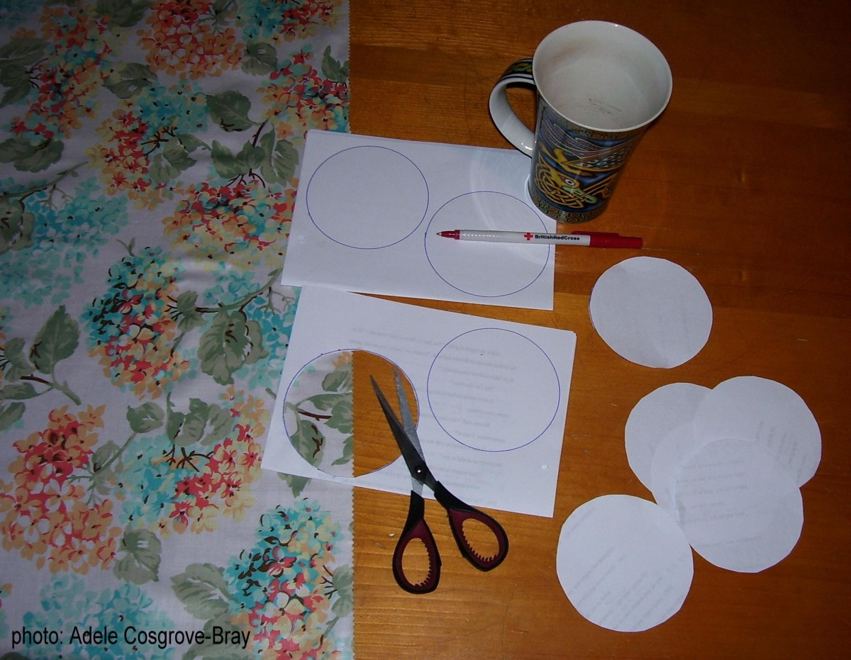 A mug is the perfect size for making Suffolk Puff templates.