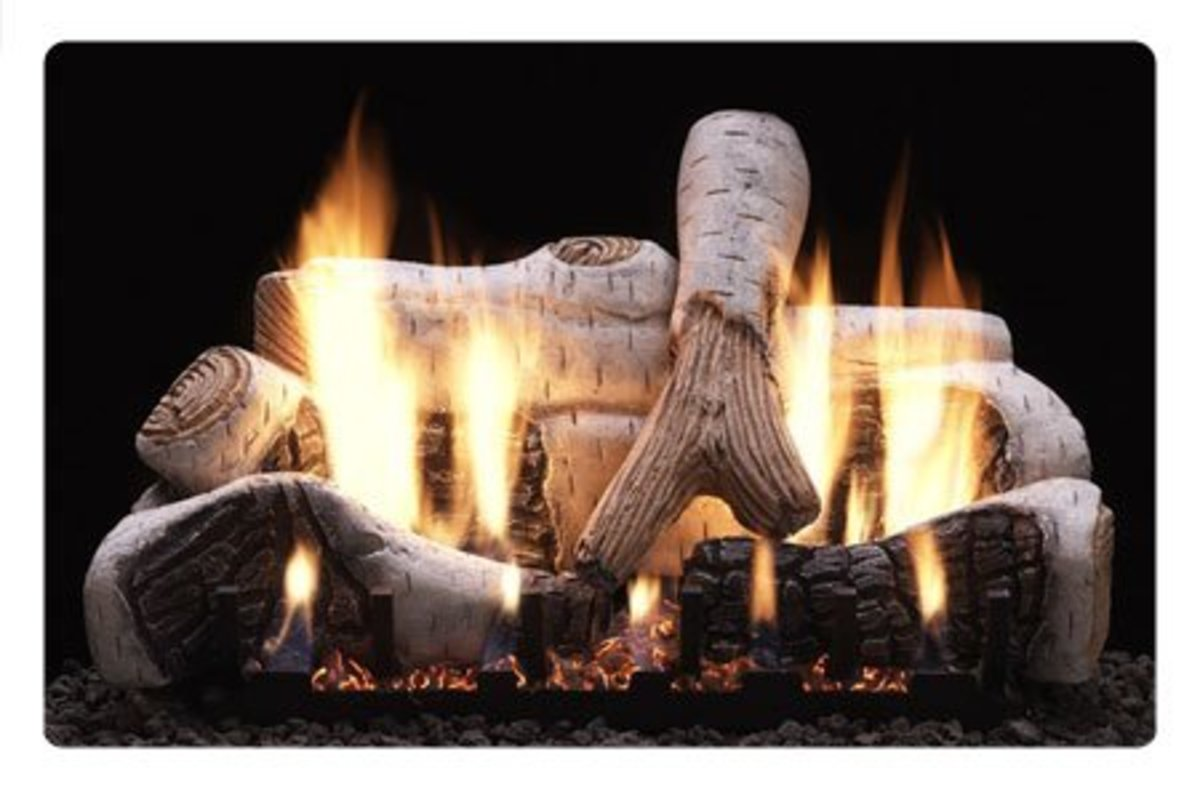 Ventless gas log fireplace logs fit an exact pattern to minimize carbon output from burning gas.