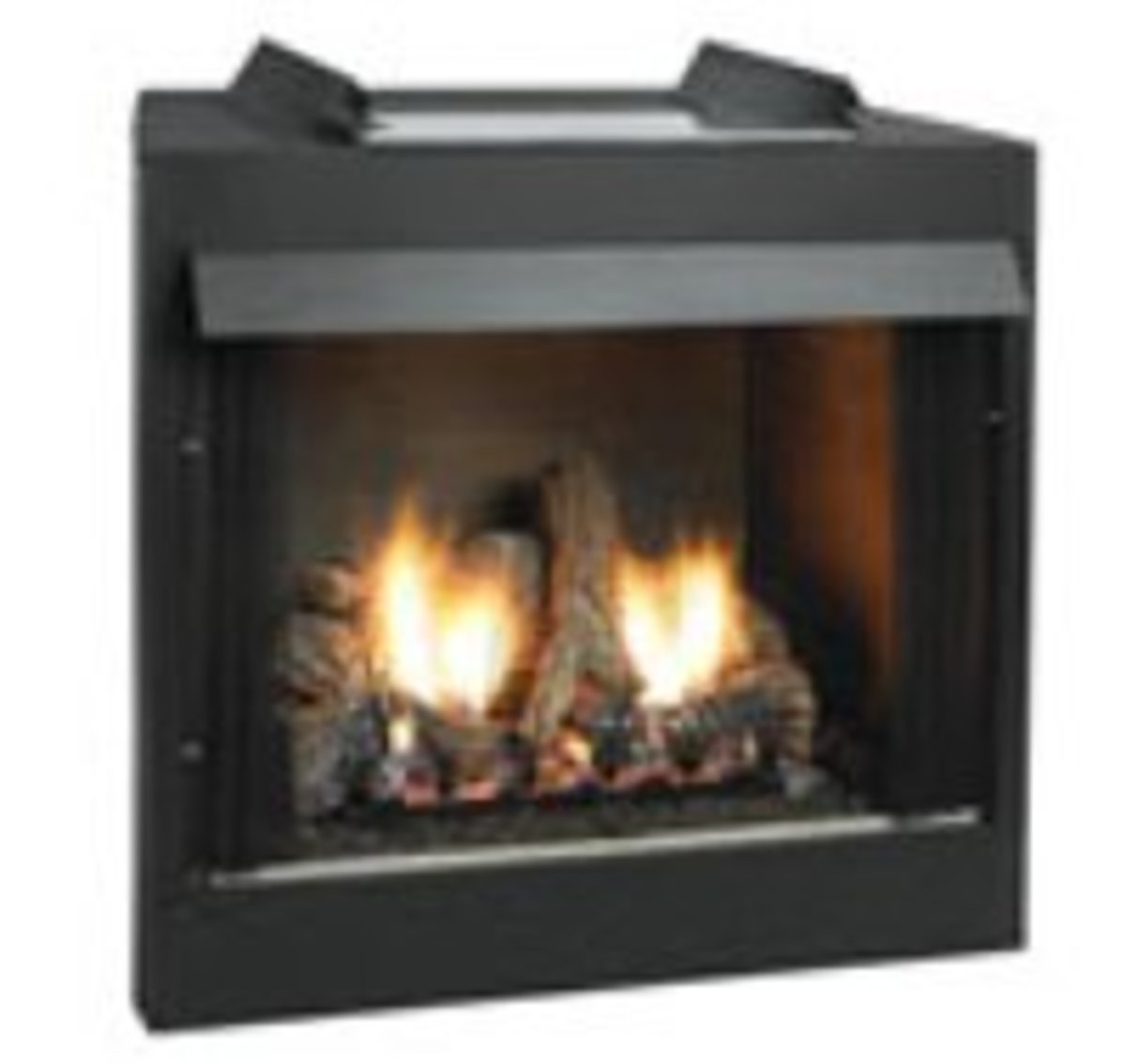 Ventless gas log fireplace fire box keeps heat where it belongs and can be completely hidden inside a mantle or custom built into a wall.