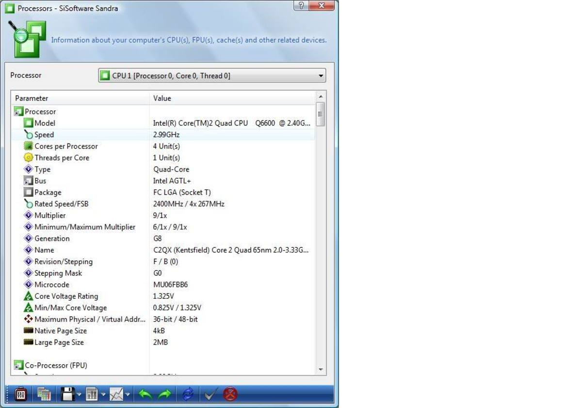 Processor will post as 2.4ghz but show in monitor progroms like CPUiD and Sandra as the true speed 2.99ghz