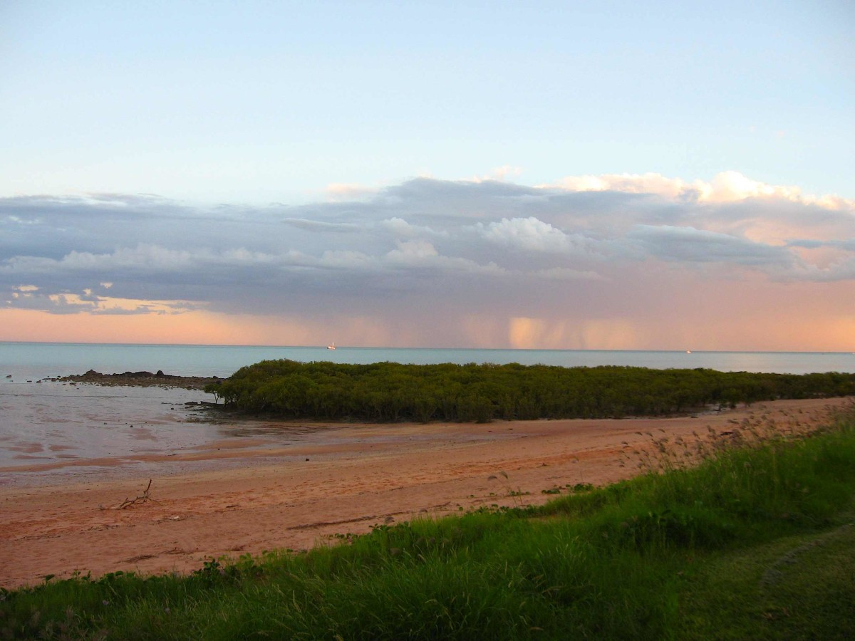 Rain at sea as seen from Town Beach campsite