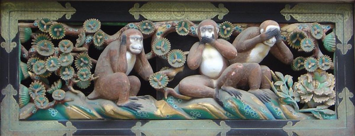 The three wise monkeys, from a folklore of Japan
