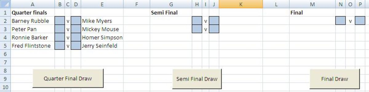 Buttons to generate the next rounds fixtures