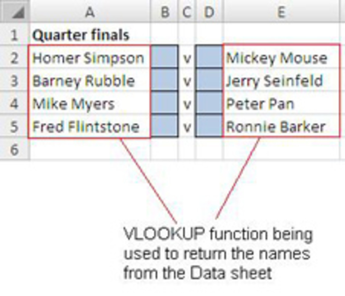 Vlookup function to pick random names from a list