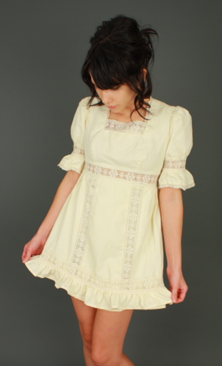 1970's style Baby Doll Dress with high, square neckline