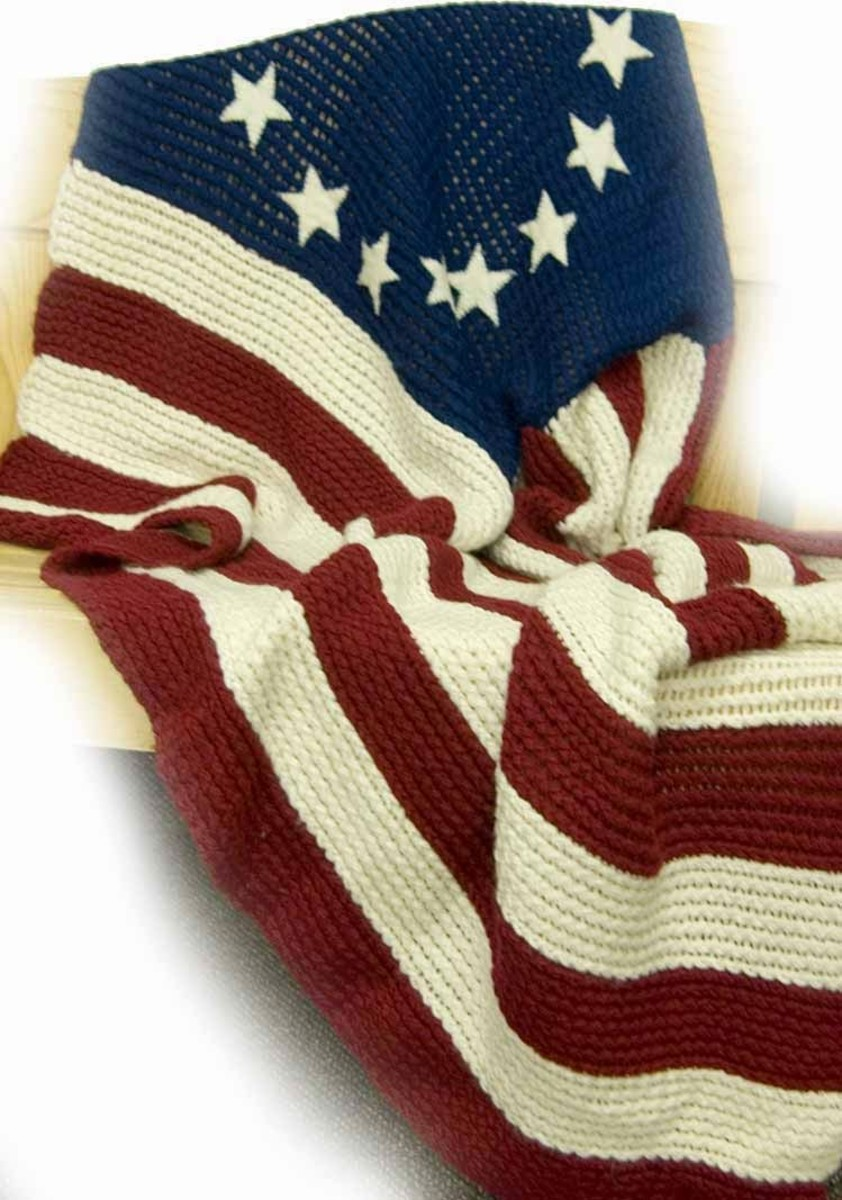 Free Old Glory Flag Blanket Pattern for the Knifty Knitter Round Looms