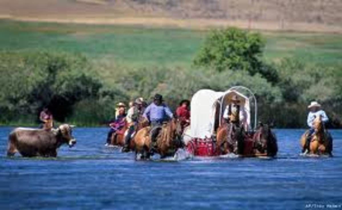 Glenn's Ferry / Three Island Crossing, Idaho. Local's often reinact the crossing of the river with horses and wagons to celebrate the Oregon Trail and Idaho's history.