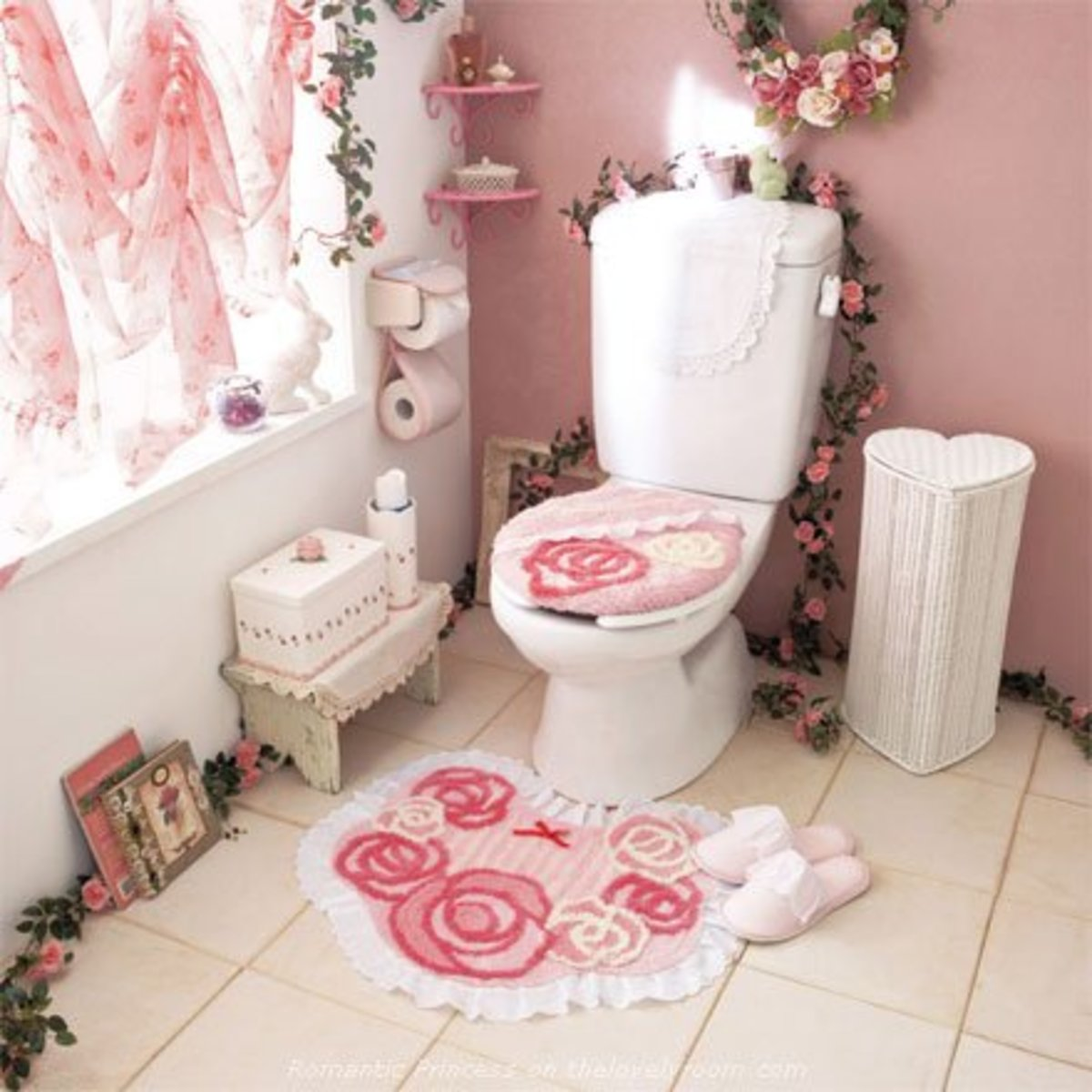 pink bathroom with pink accessories
