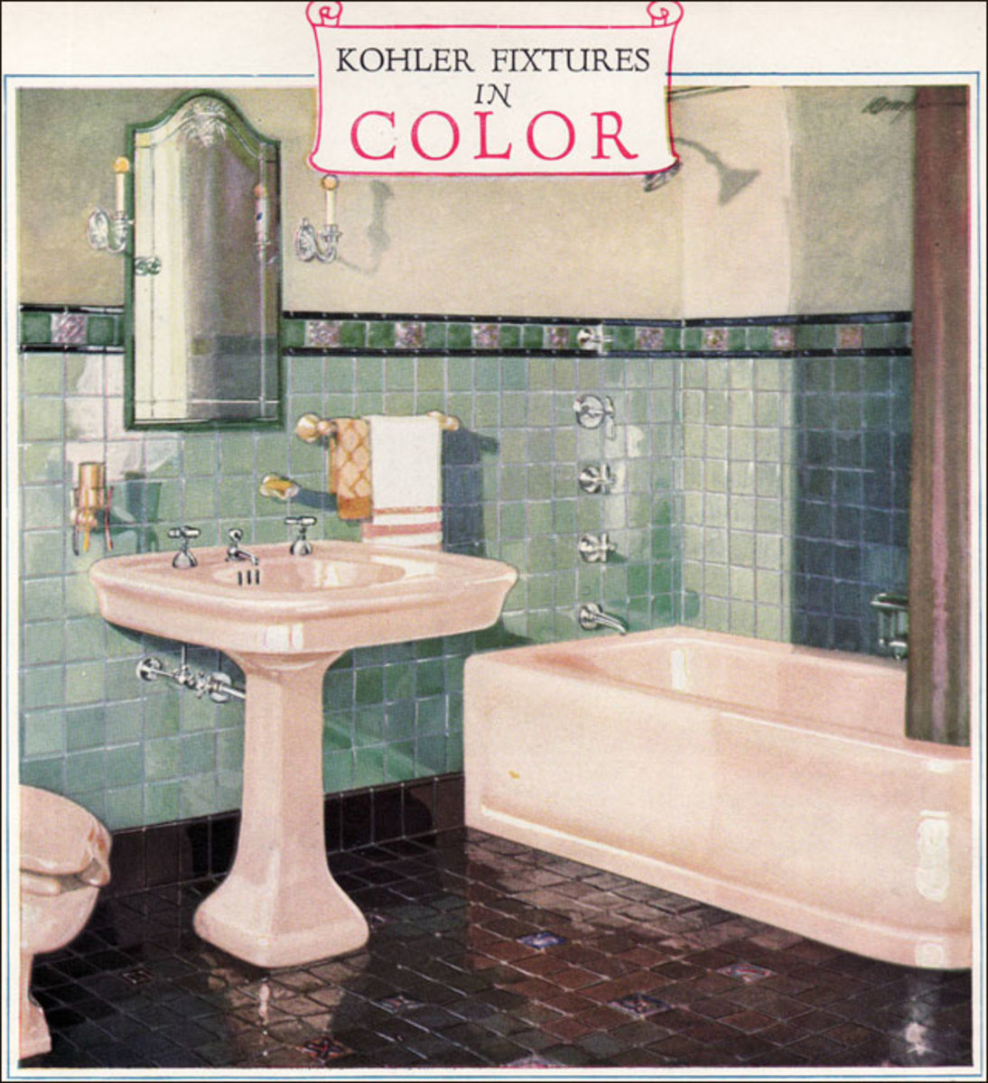 Where most of the fixtures offered during the first half of the 1920s were almost always white, color was the innovation that manufacturers dangled enticingly to homeowners after 1925. Colors from the late 20s forward were available at a small additi