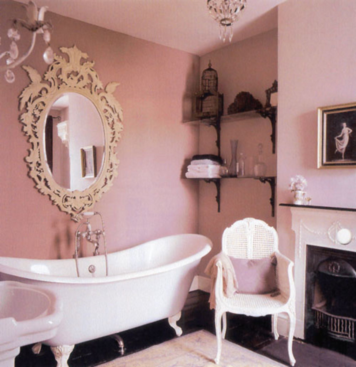 claw foot white tub in pink bathroom