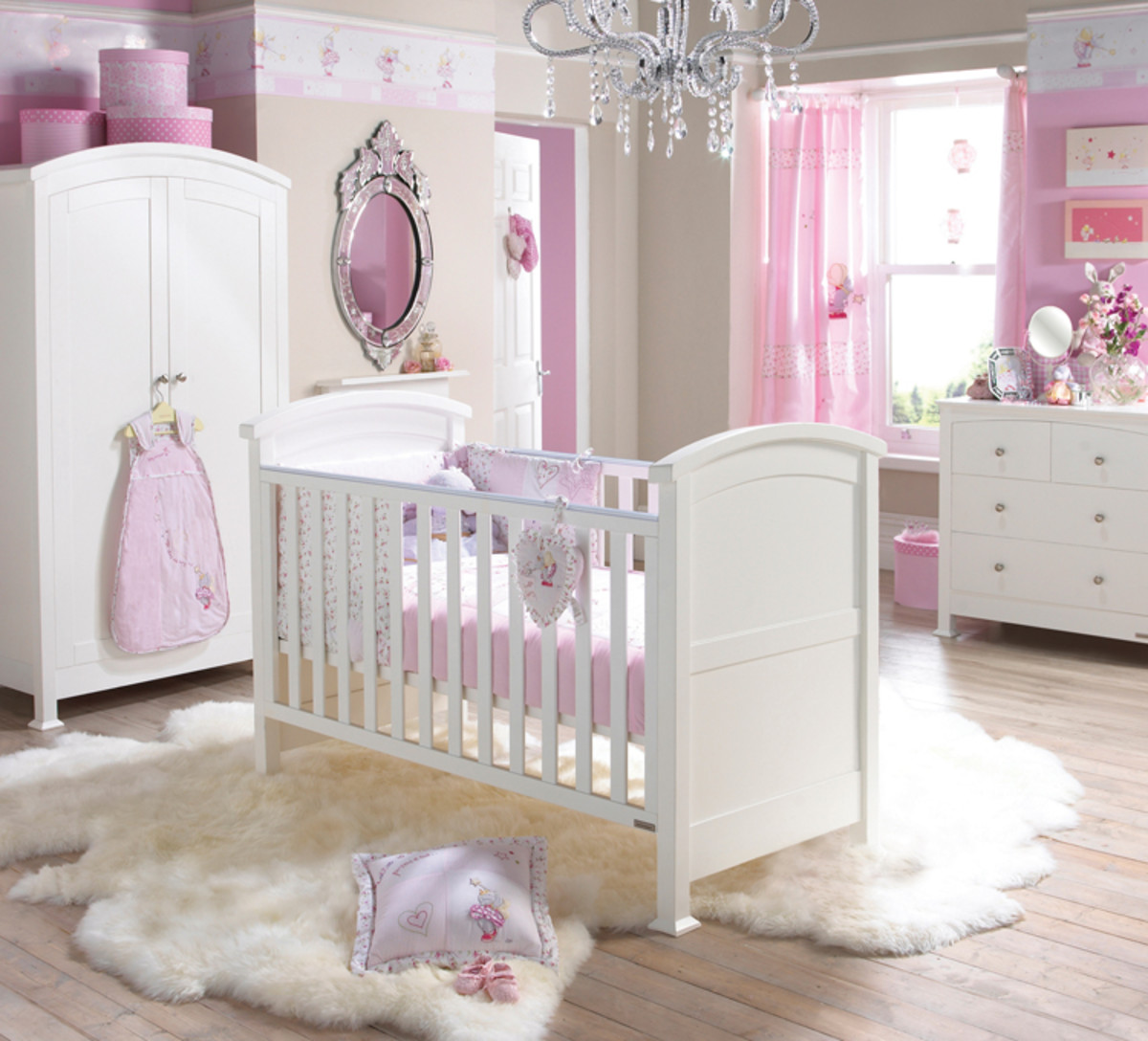 white nursery with pink accounts