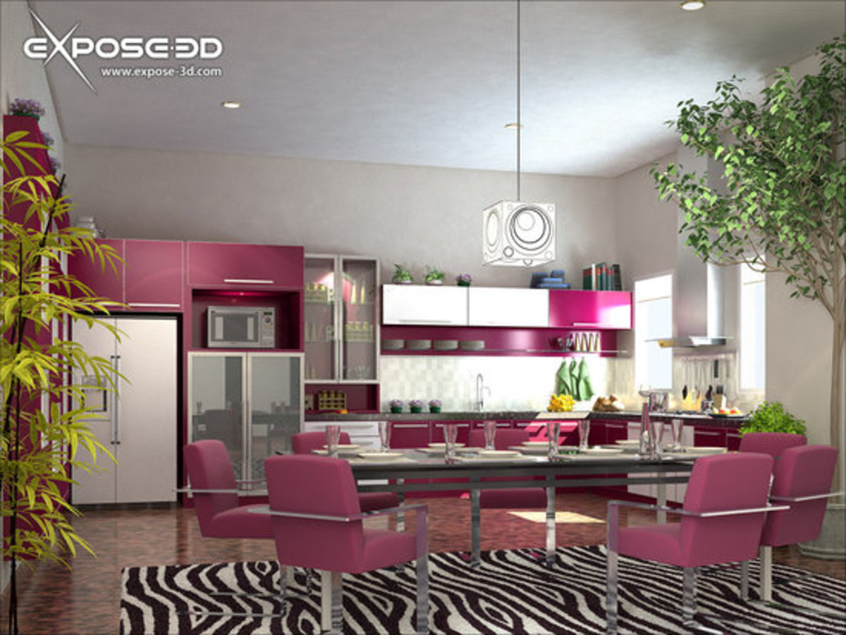 Pink modern kitchen design idea