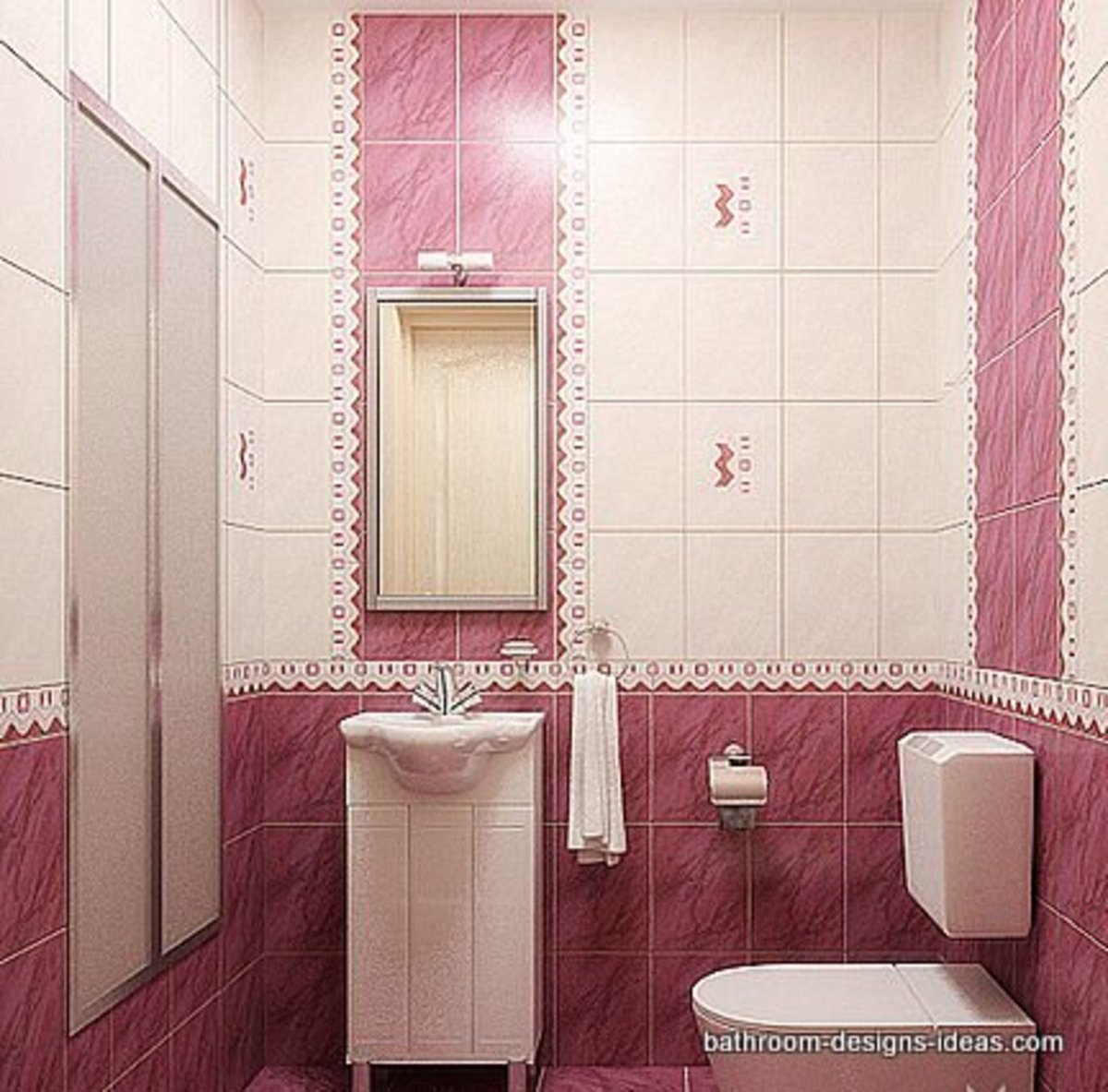 pink bathroom with white fixtures and cabinets