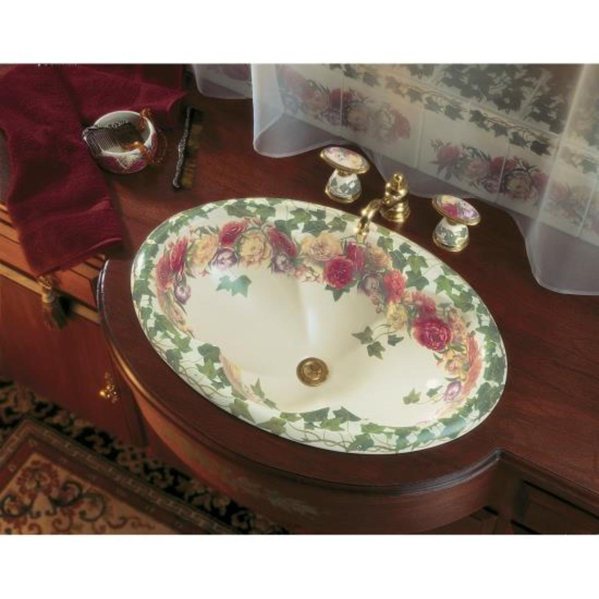 floral sink with pink flowers