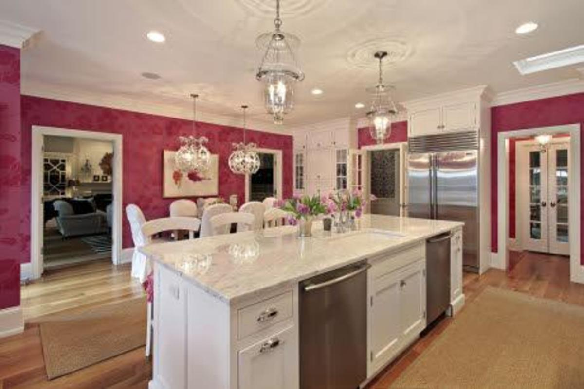 Classic Pink Kitchen with Hot Pink Walls