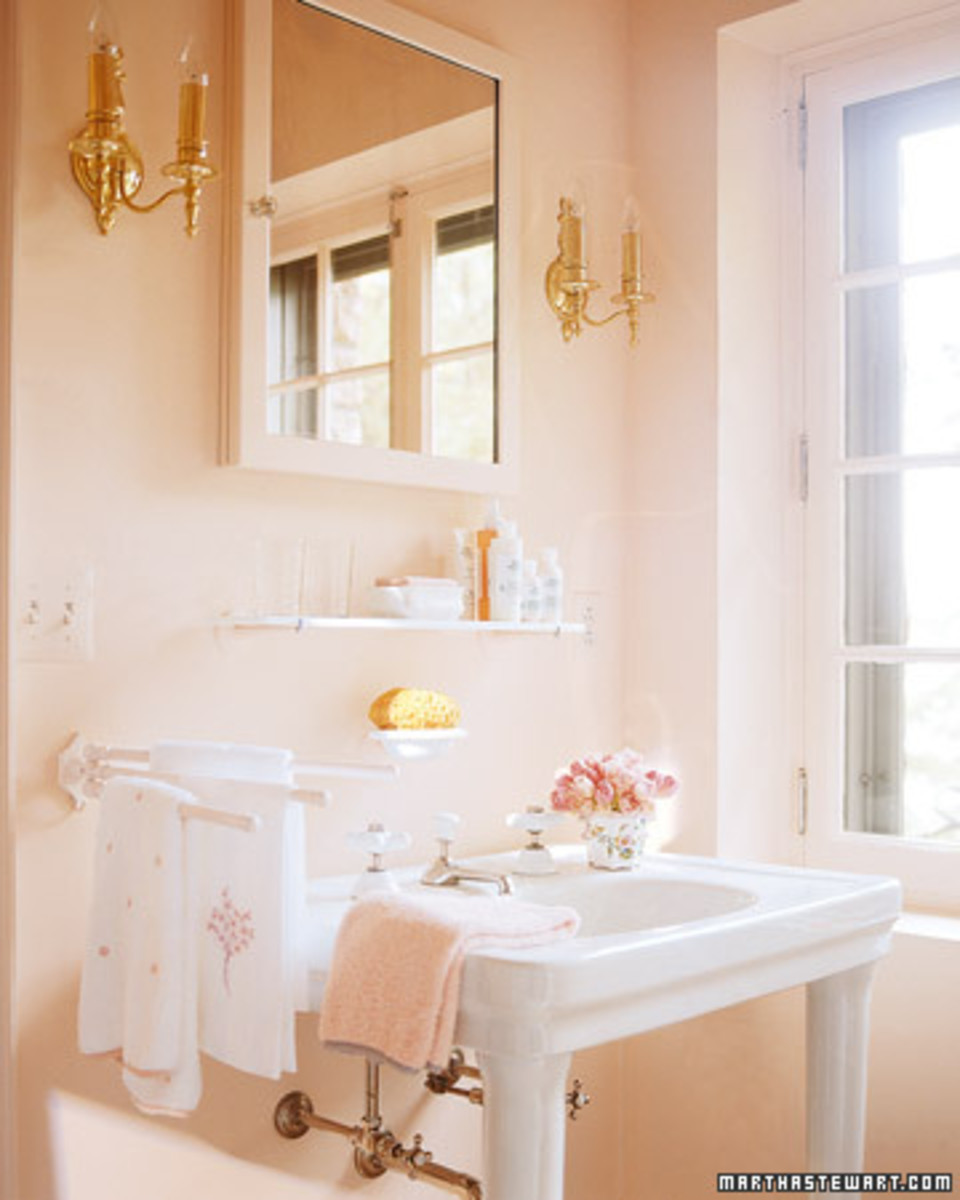 pink bathroom with white fixtures