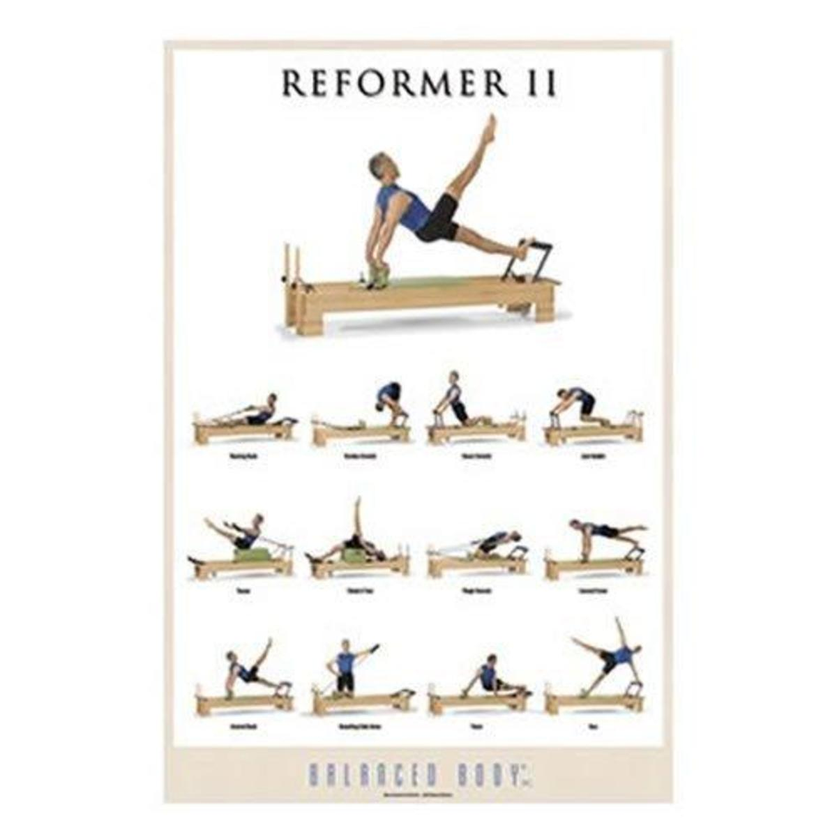 reformer pilates poster showcasing over 9 different exercise movements