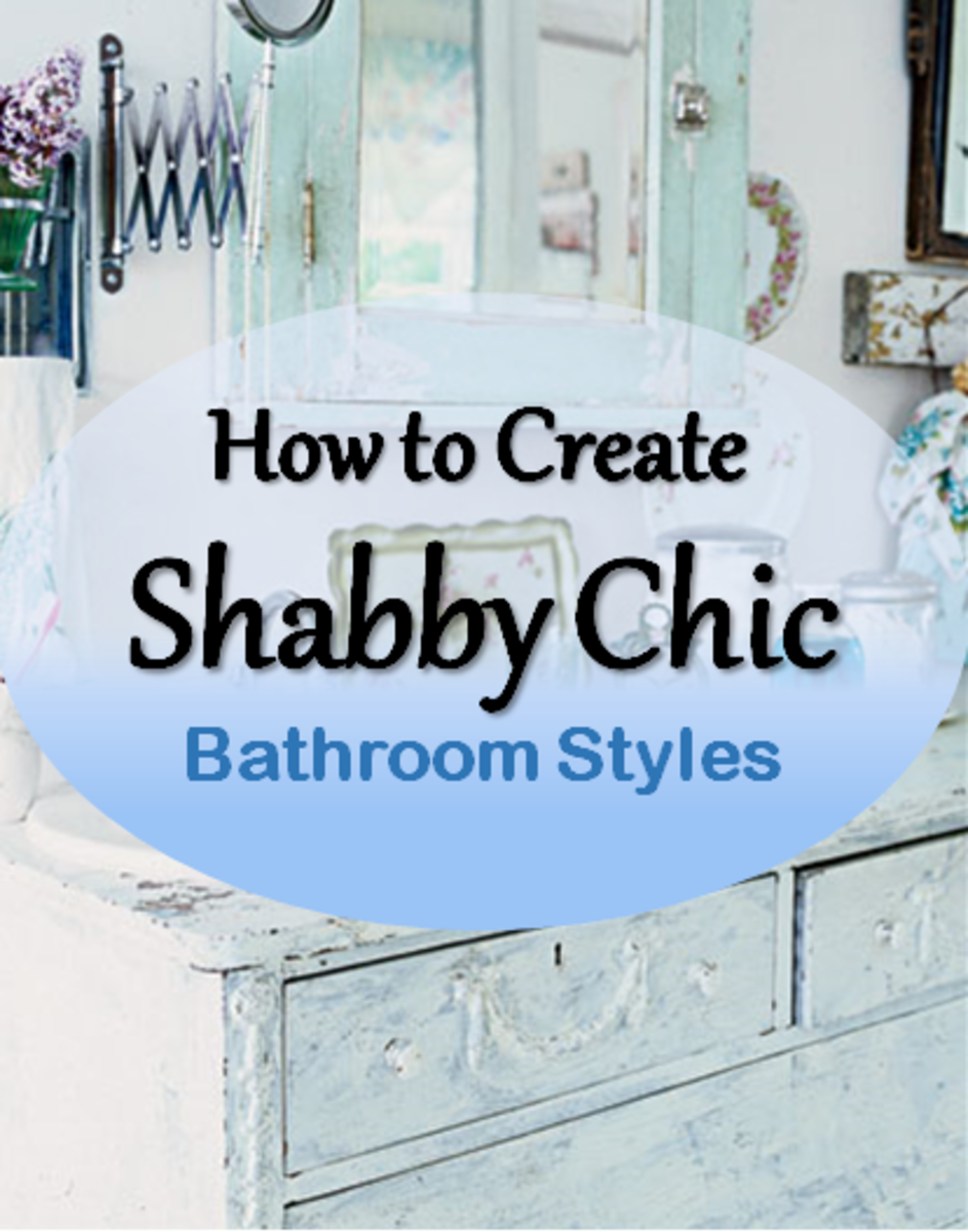 A shabby chic bathroom theme showing furniture - vanity unit and vintage