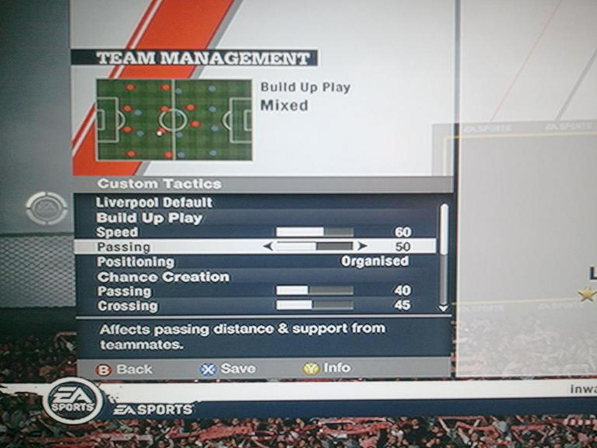 Custom tactics enable you to control what types of chances the AI will look to create. From early crosses to no crosses, to shooting at all possible chances to only the most secure.