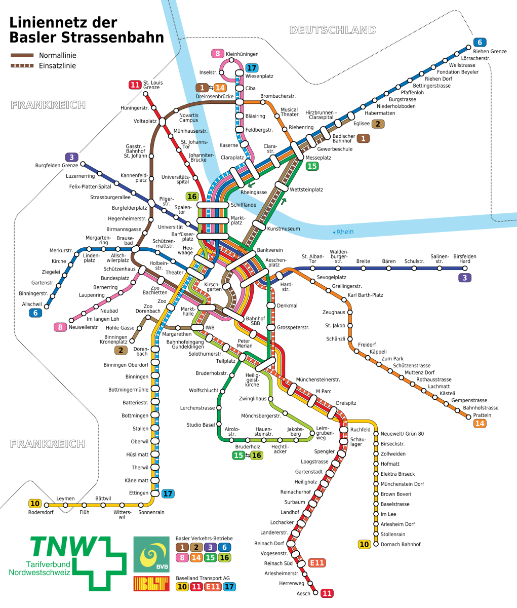 Basel's streetcar network
