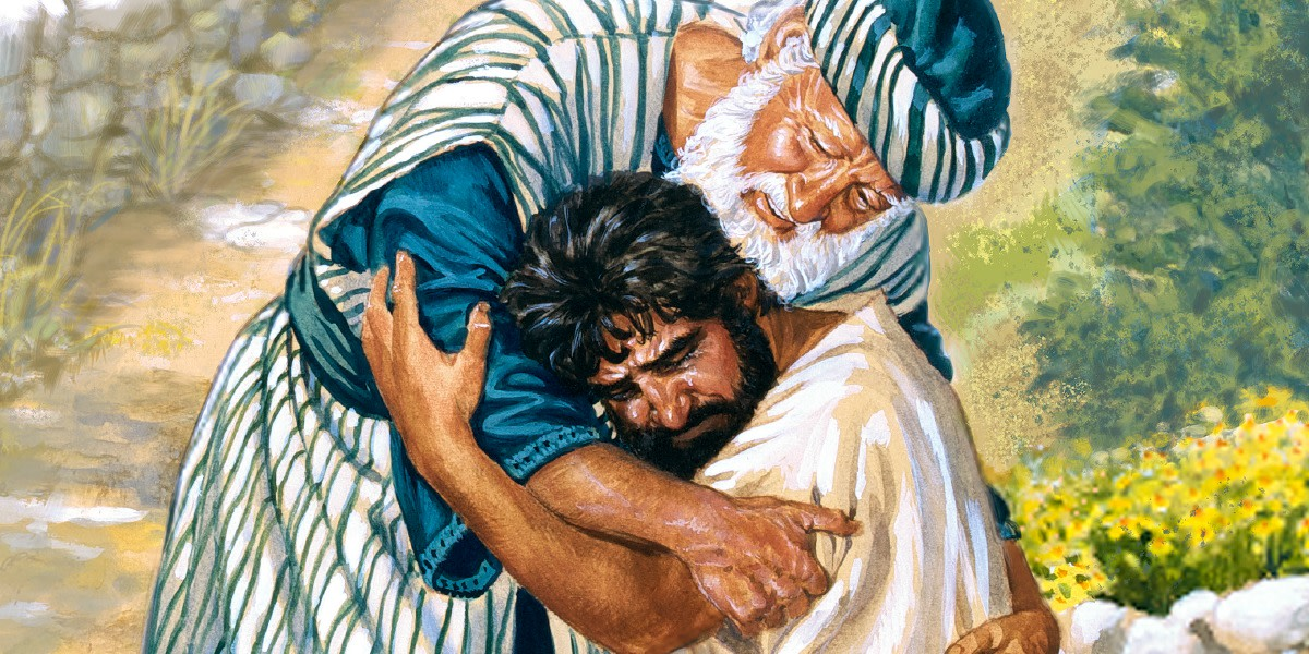 The prodigal son returns home and his father receives him with opened arms.
