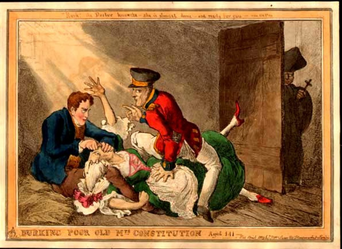 A political cartoon from 19th Century refers to 'Burking' of the Constitution.
