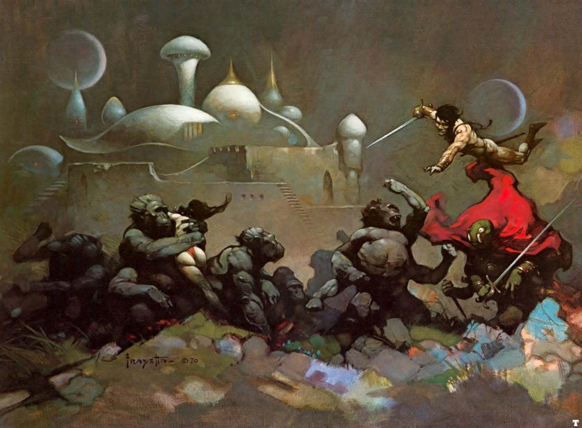 John Carter and the Savage Apes of Mars - art by Frank Frazetta