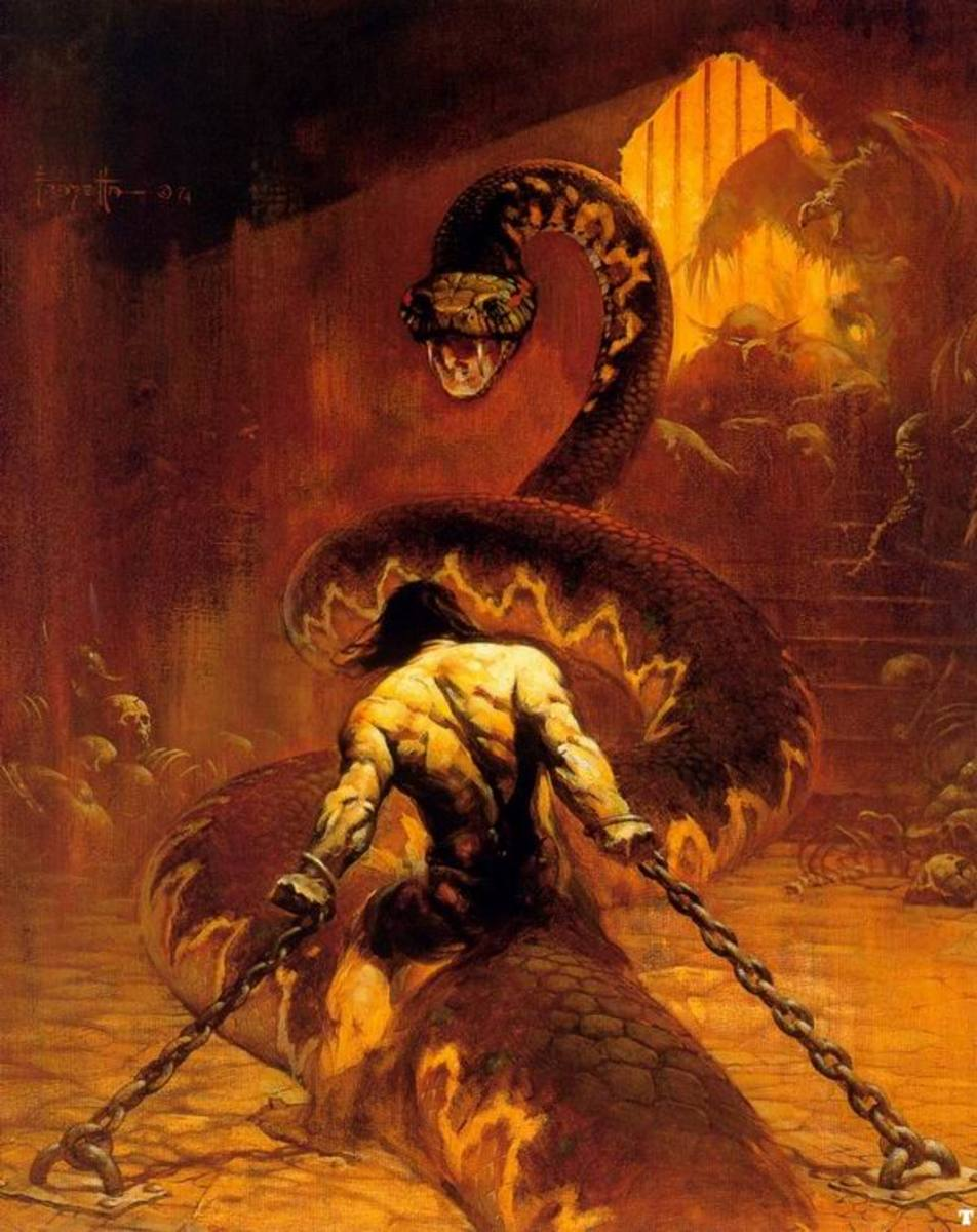 Chained - art by Frank Frazetta