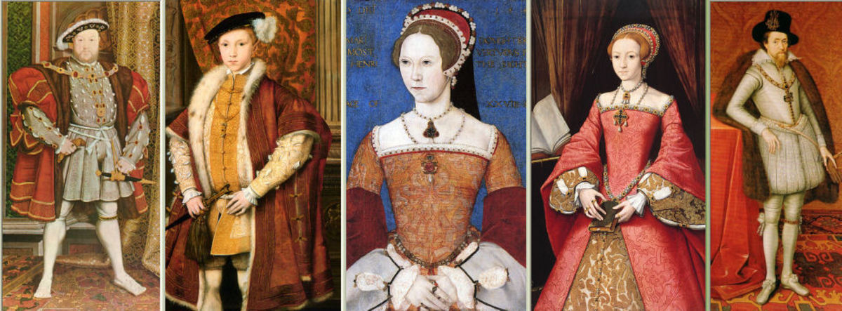 Henry VIII (Hans Holbein jnr); Edward VI (Unknown); Mary I (Master John); Elizabeth I (William Scrots), James I (+ VII) (John de Critz)